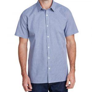 SC-Mens Microcheck Gingham Short-Sleeve Cotton Shirt